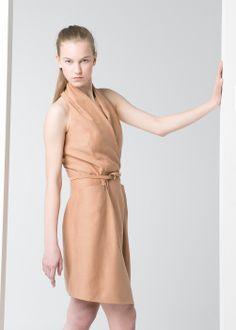 PREMIUM - Linen-blend wrap dress