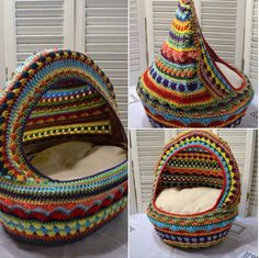 This crochet cat bed is so colorful and fun, your cat will love it!