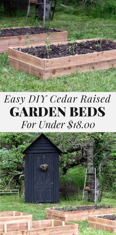 # Learn how to build cedar raised vegetable garden beds that are affordable and long lasting. These DIY garden bed plans are cheap to build but long lasting and chemical free. Easy DIY Tutorial for building raised garden beds out of cedar. Cedar Raised Garden Beds, Diy Garden Bed, Building Raised Garden Beds, Easy Garden, Cedar Garden, Raised Patio, Garden Cart, Raised Planter, Building Garden Boxes