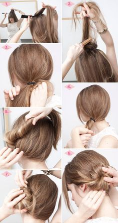 Cute twisted side bun #twistedbun #sidebun #Longhair #hairstyle #hair #hairdo #howto #tutorial - bellashoot.com #stepbystep