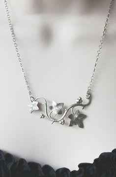 Silver ivy necklace, spring jewelry, woodland nature pendant