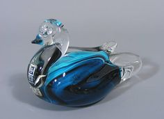 Mdina, Glass Duck, Art Glass, Paperweight, Handmade Duck Figure, Mdina Glass, Vintage, Free UK Postage