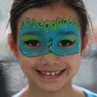 Peacock face paint mask for Mardi Gras