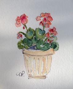 Geranium Watercolor Card