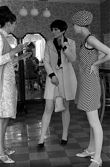 Mary Quant and a model wearing a minidress London 1960