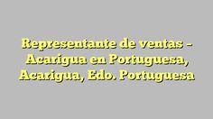 Representante de ventas - Acarigua en Portuguesa, Acarigua, Edo. Portuguesa