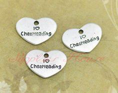 25pcs-- I love cheerleading Charms, Antique silver  I love cheerleading heart Charm Pendants, jewelry making, DIY supplies