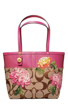 I wish i could find this purse for sale somewhere!  COACH SIGNATURE STRIPE FLORAL TOTE available at #Nordstrom