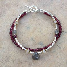 Garnet Labradorite Moonstone and Hill Tribe by EastVillageJewelry, $48.00 Handmade artisan jewelry at reasonable prices! Free shipping within the U.S.  www.eastvillagejewelry.etsy.com