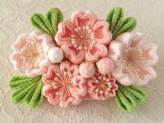 〈つまみ細工〉桜のバレッタ(サーモンピンク&淡桜)