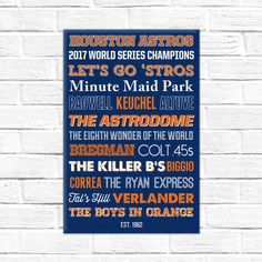 Houston Astros - World Series Champions 2017 - christmas gift - etsy gift - houston astros gift - astros gift - astros christmas gift - canvas - astros canvas