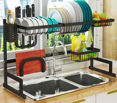 Dish Drying Rack Over Sink, Drainer Shelf for Kitchen Supplies Storage Counter Organizer Utensils Holder Stainless Steel Display- Kitchen Space Save Must Have (Sink size ≤ 32 inch, black) Kitchen Cutlery, Kitchen Storage, Kitchen Drying Rack, Kitchen Bookshelf, Kitchen Rack Design, Kitchen Racks, Bookshelf Storage, Kitchen Organization, Storage Organization