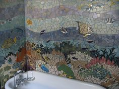 """Some day, I""""ll have an under the sea mosaic in my two person shower...mine will have mermaids too, though, and be brighter."""