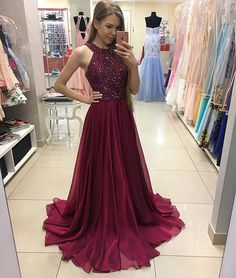 Hot-Selling A-Line Deep Gray Chiffon Long Prom/Evening Dress
