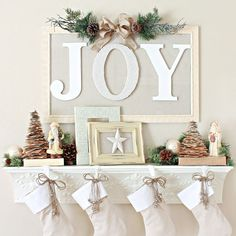 "12 Days of Christmas Mantels with  www.kirleymasonry.com.  ""Joy"" Christmas Mantel Shelf from BHG."