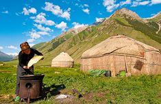 Horseback riding trail in Kyrgyzstan Horseback Riding Trails, Trail Riding, Mountain Trails, Mountain Range, Outdoor Gear, Tent, Journey, Celestial, Adventure