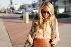 leather skirt - fur vest - skin blouse