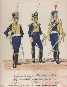Garde Royale, Regiment of Velites a Cheval, Captain, Velite & Trumpeter, 1811 by H. Kingdom Of Naples, Kingdom Of Italy, Two Sicilies, Italian Army, Battle Of Waterloo, National History, French Empire, Naples Italy, Napoleonic Wars