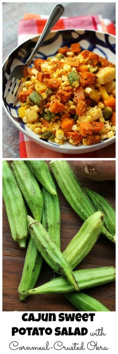 Roasted Cajun-spiced sweet potatoes are tossed with cornmeal crusted okra, sweet crunchy bell peppers, and juicy corn in this spicy sweet potato salad that makes for a perfect summer side or main meal.