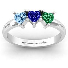 Triple Heart Stone Mothers ring
