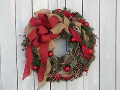 Christmas Wreath, Holiday Wreath, Burlap Wreath, Winter Wreath, Designer Wreath, Front Door Wreath, Home Decor by KathysWreathShop on Etsy https://www.etsy.com/listing/257230506/christmas-wreath-holiday-wreath-burlap