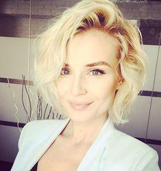 Polina gagarina blonde short hair curls Brown roots