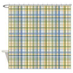 Blue Green Yellow Plaid Print Shower Curtain on CafePress.com