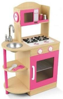 KidKraft Pink Wooden Kitchen Set lets young chefs cook in style. Pretend salt and pepper shakers; Mixing spoon and . Play Kitchens, Pink Wooden Kitchen, Mini Kitchen, Kitchen Small, Kitchen Modern, Kidkraft Vintage Kitchen, Kitchen Playsets, Kitchen Sets For Kids, Toddler Kitchen