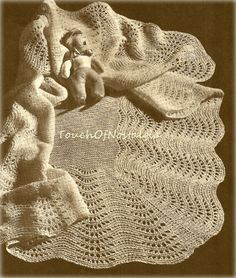 LACY Baby SHAWL Knitting Pattern Vintage   by touchofnostalgia7