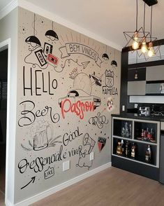 Office Wall Design, Office Walls, Home Decor Wall Art, Diy Home Decor, Room Decor, Wall Storage Systems, Wall Stencil Patterns, Chalk Wall, Hidden Rooms