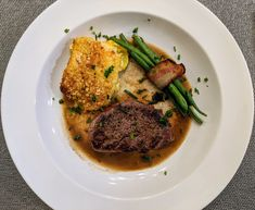 This is a copycat meal that I never had @Boshamps, in Destin, FL. Southern Yellow Squash Casserole, Seared Filet and Bacon Wrapped Green Beans with Pan Jus. Bacon Wrapped Green Beans, Yellow Squash Casserole, Copycat, Great Recipes, Southern, Meals, Food, Meal, Essen