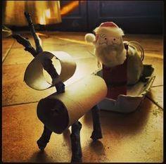 Père Noel et renne - Rouleaux de papier toilette, boite a oeuf, branche