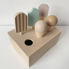 These cute adorable wood ice cream are perfect Montessori toy!! Made out of beach wood, non toxic paint! Wood Kids Toys, Wooden Toys For Toddlers, Busy Boards For Toddlers, Toddler Toys, Wood Toys, Ice Cream Toy Set, Diy Sensory Board, Wooden Play Food, Montessori Baby Toys