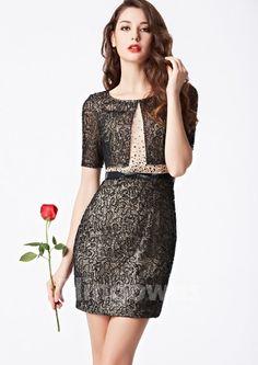Short Length Jewel Zipper Sheath Lace Short Sleeves Sash Sequins  Homecoming / Prom Dresses Cheap Cocktail Dresses, Prom Dresses, Formal Dresses, Sash, Homecoming, Lace Shorts, Short Sleeves, Sequins, Zipper