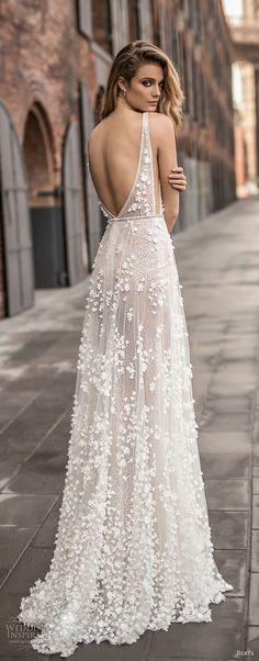 berta spring 2018 bridal sleeveless deep plunging v neck full embellishment sexy a  line wedding dress open back sweep train (14) bv -- Berta Spring 2018 Wedding Dresses