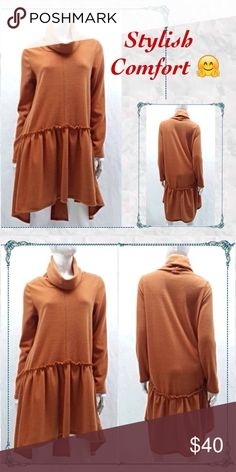 🍂Rust Colored Cozy Dress or Top -love it! 🍂Rust Colored Cozy Dress or Top                       🔸awesome easy, versatile comfort for colder days - 95% poly 5% spandex - feels like a mix between knit, wool, fleece (made for Winter) 🔸comfortably roomy and true too size - does not cling                                                                   🔸by Auditions for Blossom Apparel                    🔸Made in USA                                                      🔸better in person…