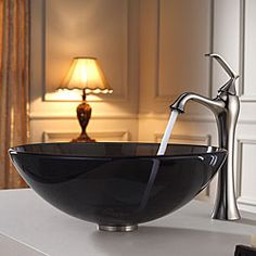 @Overstock - Add a touch of elegance to your bathroom with a glass sink combo from Kraus  Stylish Black glass sink and Ventus vessel faucet will complement any bathroom decorhttp://www.overstock.com/Home-Garden/Kraus-Clear-Black-Glass-Vessel-Sink-and-Ventus-Faucet-Brushed-Nickel/6472919/product.html?CID=214117 $233.96