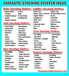 Christmas Stocking Stuffer Ideas - The Keeper of the Cheerios Christmas Stocking Stuffer Ideas NOTE: there is a typo under Kids List (this should say GUM not Gun) Toddler Stocking Stuffers, Baby Stocking, Christmas Stocking Stuffers, Stocking Ideas, Stocking Stuffers For Adults, Stocking Fillers For Adults, Family Christmas Stockings, Kids Stockings, Homemade Christmas Gifts