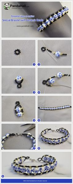 Dıy (do it yourself) - ideas on making Special Bracelet with Ceramic Beads - Pin İdeas Seed Bead Jewelry, Bead Jewellery, Wire Jewelry, Jewelry Crafts, Handmade Jewelry, Diy Beaded Bracelets, Jewelry Bracelets, Embroidery Bracelets, Colorful Bracelets