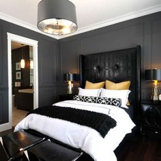 Bedroom Design Ideas, Pictures, Remodels and Decor black white and light gold... love it!