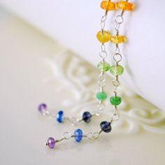 Extra Long Rainbow Earrings Colorful Gemstone by livjewellery #rainbow #jewelry #earrings