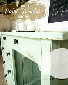 Awesome tips and tricks for painting furniture. Best tip: Use small foam roller instead of brush. Doesn't leave brush strokes but is small and squishy enough to get into all the little spaces.