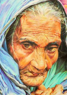 ☆ Pencil drawing Old woman :¦: By Artist Dmitriy Samohin ☆