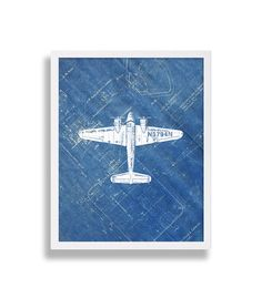 Airplane Print on Blueprint Paper Industrial Art by Coco and James