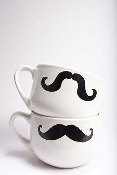 DIY mustache mugs