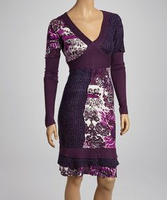 Take a look at this Purple & White Floral V-Neck Dress by Fashion Fuse on #zulily today! Hmm...It intrigues me immensely.