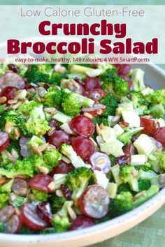 I didn't think I was a fan of broccoli salads. Most of them start out light and healthy but then get weighed down with heavy dressings and tons of bacon. But this light and crunchy skinny broccoli salad recipe has changed my mind. Crunchy Broccoli Salad, Skinny Broccoli Salad, Broccoli Cauliflower, Salad Recipes Video, Healthy Salad Recipes, Healthy Snacks, Plats Weight Watchers, Weight Watchers Meals, Bacon