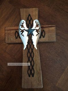 Wall Cross Wooden Reclaimed Wood Western Rustic Cowboy Cabin Turquoise Tin Wings Christianity photo