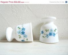 ON SALE 2 Vintage FORGET Me Not Egg Cups, Arcopal. Made in France.