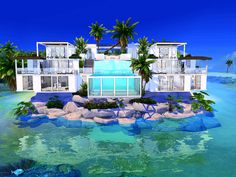 Sarina_Sims' Sea View Villa - No CC Sims 4 Modern House, Sims 4 House Design, The Sims 4 Lots, Sims 4 Kitchen, Anime Places, Sims House Plans, Sims Building, Architectural House Plans, Glass Pool